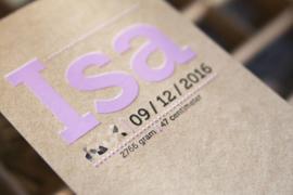 Geboortekaartje | letterpress  | 10 x 20 cm | Folie druk | 'Isa Kraft' vanaf