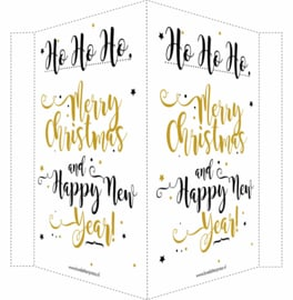 Kerstbord/raambord | Merry Christmas & Happy New Year |  goud/zwart vanaf
