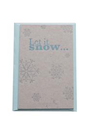 Kerstkaart | Let it snow | 500 gram grijsbord | rood