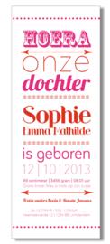 Geboortekaartje   letterpress    8 x 20 cm   2 kleuren    'Hoera een dochter' vanaf