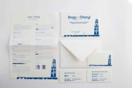 Trouwkaart | letterpress  | 11 x 17 cm | 1 kleur | skyline Utrechtvanaf