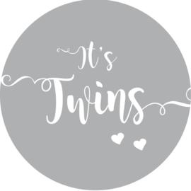 Geboorte sluitzegels | Tweeling   It's twins | grijs
