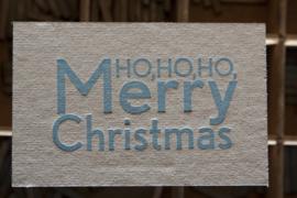 Kerstkaart | Ho ho ho Merry Christmas | 500 gram grijsbord | blauw