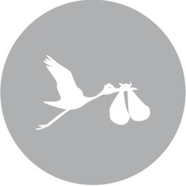 Geboorte sluitzegels | Tweeling | Ooievaar dicht | grijs