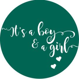 Geboorte sluitzegels   Tweeling   It's a boy & girl   donker groen emerald