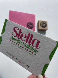 Geboortekaartje | letterpress  | 11 x 17 cm | 2 kleuren | 'Stella' vanaf