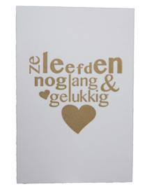 Kaart bruiloft | Ze leefden nog lang en gelukkig | goud