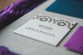 Trouwkaart | letterpress  | trouwstijl |  8 x 20 cm | 1 kleur  | 'Marrakech ' vanaf