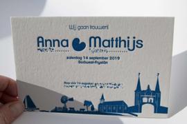 Trouwkaart | letterpress  | 11 x 17 cm | 1 kleur | 'Friesland' vanaf