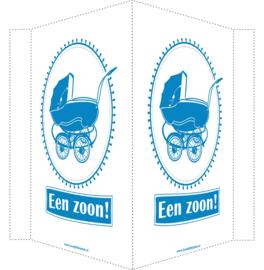 Geboortebord/ raambord | Vintage kinderwagen | zoon | blauw vanaf