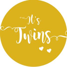 Geboorte sluitzegels | Tweeling | It's twins | okergeel