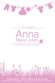 Geboortekaartje | letterpress  | 10 x 15 cm | 1 kleur | 'Waslijn It's a girl ' vanaf