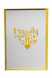 Kaart bruiloft | Happily ever after | geel