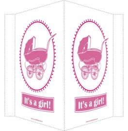 Geboortebord/ raambord | Vintage kinderwagen | licht roze/ roze vanaf