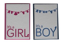Kaart geboorte | It's a girl | roze