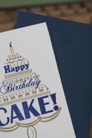 Verjaardagskaart   Happy birthday cake   goud/marine