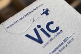Geboortekaartje | letterpress  | 13 x 13 cm | 1 keur | 'Vliegtuig Vic' vanaf