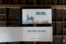 Geboortekaartje | letterpress  | 8 x 20 cm | 4 drukgangen | 'Bakfiets Julius' vanaf