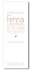 Geboortekaartje   letterpress    8 x 20 cm   1 kleur    'Lettertype dun   meisje' vanaf