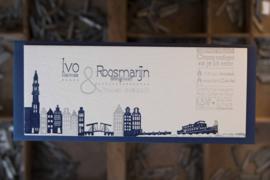 Trouwkaart | letterpress   |  8 x 20 cm | 2  kleuren  | 'Skyline Amsterdam +Ijburg' vanaf