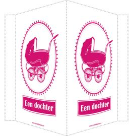 Geboortebord/ raambord |  vintage kinderwagen  | dochter | fuchsia roze vanaf