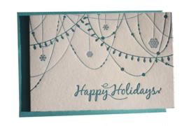 Kerstkaart | Happy Holidays | 300 gram | aqua blauw