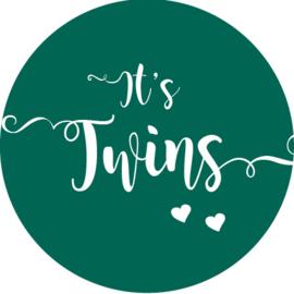 Geboorte sluitzegels | Tweeling | It's twins | donkergroen (emerald)