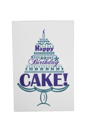 Verjaardagskaart | Happy birthday cake | marine/teal