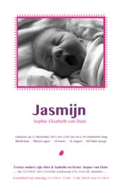 Geboortekaartje | letterpress  | 11 x 17 cm | 2 kleuren | 'Fotokaart letterpress' vanaf
