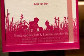 Geboortekaartje   letterpress    10 x 20 cm   1 kleur   'Waslijn Lisa' vanaf