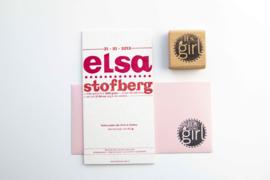 Geboortekaartje | letterpress  | 10 x 20 cm | 2 kleuren | 'Elsa' vanaf