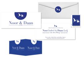 Geboortekaartje | letterpress  | 8 x 20 cm | 2 kleuren | 'tweeling ooievaar blauw'' vanaf