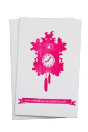 Kaart verhuizing | Zoals het klokje thuis tikt | neon roze