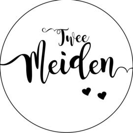 Geboorte sluitzegels | Tweeling | Twee meiden | wit/zwart