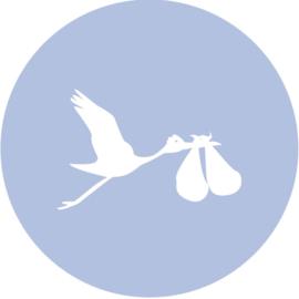 Geboorte sluitzegels | Tweeling | Ooievaar dicht | baby blauw