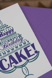 Verjaardagskaart | Happy birthday cake | paars/teal