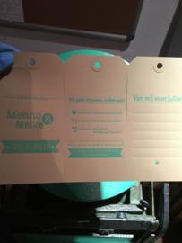 Trouwkaart labels | letterpress  | 7,5 x 15 cm | 1 kleur | Meike & Menno  vanaf
