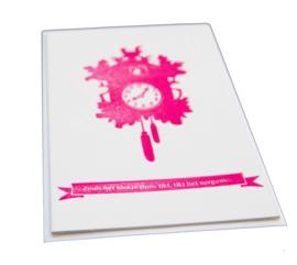 Kaart verhuizing | Zoals het klokje thuis tikt | neon roze dik