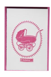 Kaart geboorte | Geboren vintage kinderwagen | roze