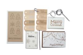 Kerstkaart en labels  | Set 'Merry Christmas'  | brons/goud/zilver
