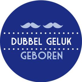 Geboorte sluitzegels | Tweeling | Snorren dubbel geluk | marine blauw