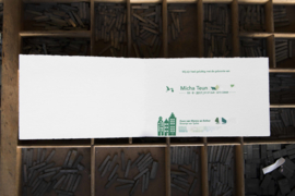 Geboortekaartje   letterpress    10 x 15cm   2 drukgangen   ' Skyline Amsterdam bakfiets ' vanaf