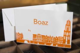 Geboortekaartje | letterpress  | 10 x 15cm | 2 drukgangen| ' Skyline Utrecht ' vanaf