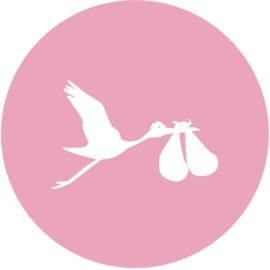 Geboorte sluitzegels | Tweeling | Ooievaar dicht | licht roze