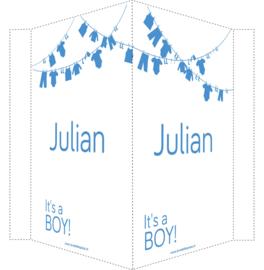 Geboortebord/ raambord | Waslijn It's a boy | naam | blauw vanaf