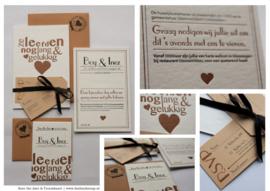 Trouwkaart | letterpress  | 11 x 17cm | 2 keuren | 'Ze leefden nog lang en gelukkig' vanaf