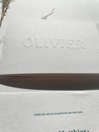 Geboortekaartje | letterpress  | 10 x 15cm |  Preeg blindruk  |  naam | Olivier' vanaf