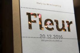 Geboortekaartje | letterpress  | 10 x 20 cm | Folie druk | 'Fleur/ijsbeer' vanaf