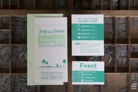 Trouwkaart | letterpress  | 10 x 20 cm | 2 kleuren | 'Wij gaan trouwen 'beach stijl' Jorg & leonie' vanaf
