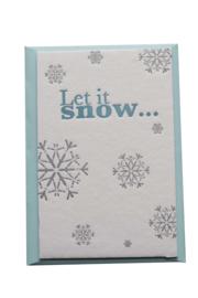 Kerstkaart | Let is snow | 850 gram | blauw/zilver